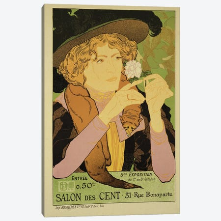 Reproduction of a poster advertising the '5th Exhibition of the Salon des Cents', Rue Bonaparte, Paris, 1894  Canvas Print #BMN1796} by Georges de Feure Canvas Print