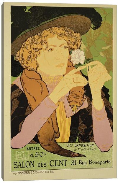 Reproduction of a poster advertising the '5th Exhibition of the Salon des Cents', Rue Bonaparte, Paris, 1894  Canvas Art Print
