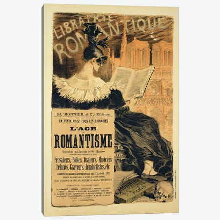 Reproduction of a poster advertising a book entitled 'The Romantic Age', 1887  Canvas Print #BMN1798} by Eugene Grasset Canvas Artwork