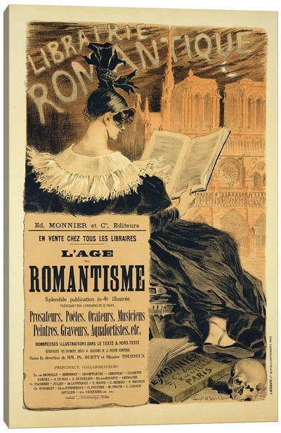 Reproduction of a poster advertising a book entitled 'The Romantic Age', 1887  Canvas Art Print