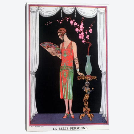 Worth evening dress, fashion plate from Gazette du Bon Ton, 1925 (litho) Canvas Print #BMN17} by Georges Barbier Canvas Artwork