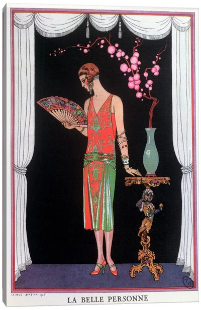 Worth evening dress, fashion plate from Gazette du Bon Ton, 1925 (litho) Canvas Art Print