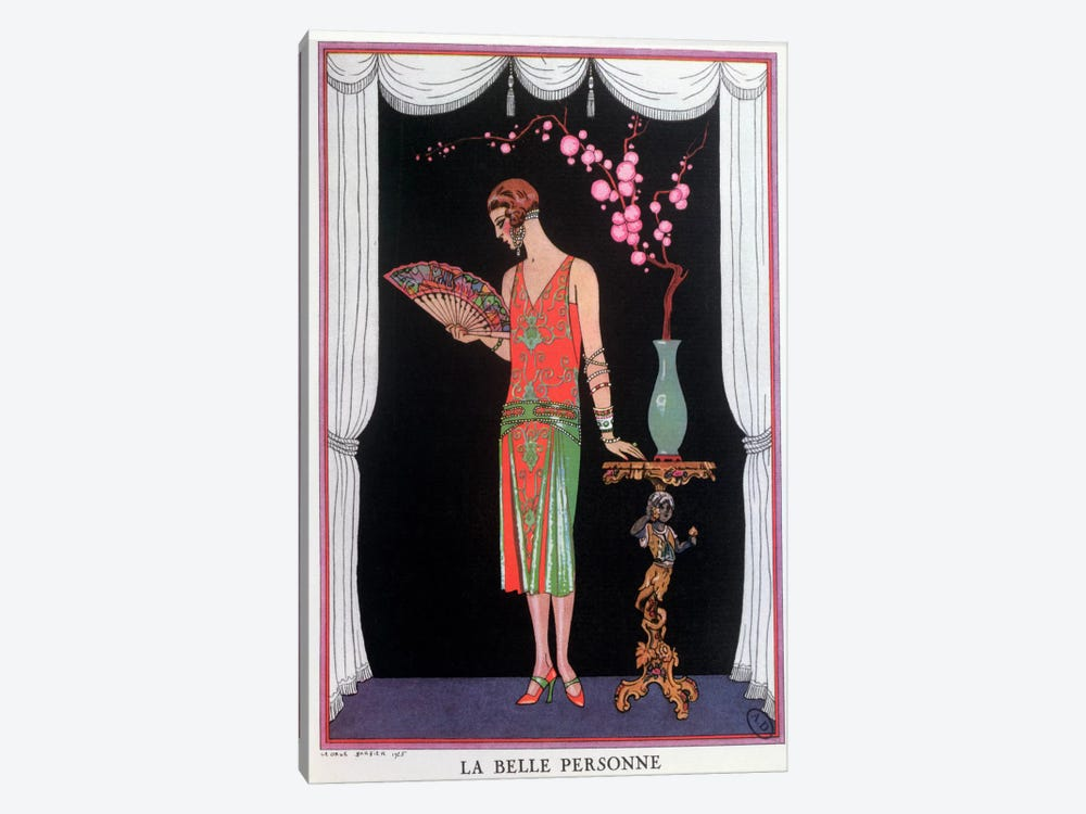 Worth evening dress, fashion plate from Gazette du Bon Ton, 1925 (litho) 1-piece Canvas Art