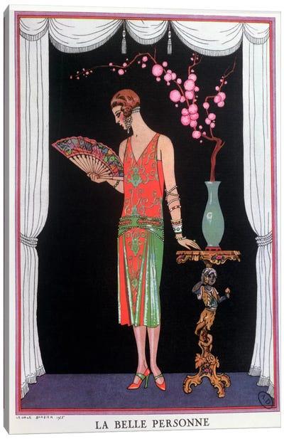 Worth evening dress, fashion plate from Gazette du Bon Ton, 1925 (litho) Canvas Art Print