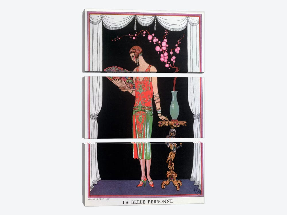 Worth evening dress, fashion plate from Gazette du Bon Ton, 1925 (litho) by George Barbier 3-piece Canvas Art
