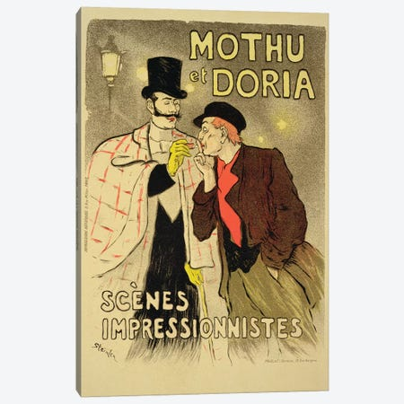 Reproduction of a poster advertising 'Mothu and Doria'in impressionist scenes, 1893  Canvas Print #BMN1800} by Theophile Alexandre Steinlen Canvas Artwork