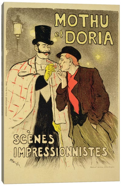 Reproduction of a poster advertising 'Mothu and Doria'in impressionist scenes, 1893  Canvas Art Print