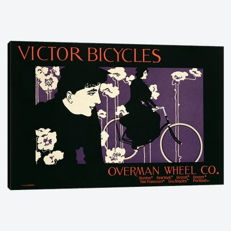 Reproduction of a poster advertising 'Victor Bicycles'  Canvas Print #BMN1801} by American School Canvas Wall Art