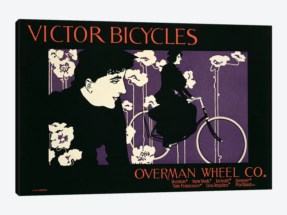 Reproduction of a poster advertising 'Victor Bicycles'  by American School 1-piece Canvas Art Print