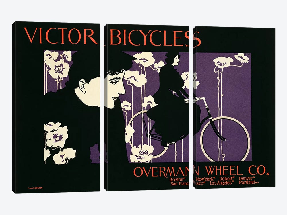 Reproduction of a poster advertising 'Victor Bicycles'  by American School 3-piece Canvas Art Print