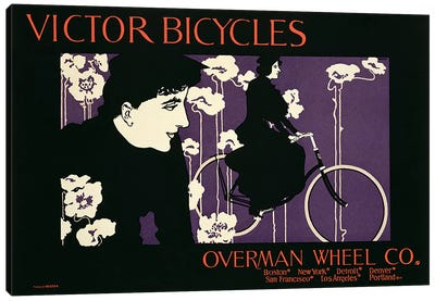 Reproduction of a poster advertising 'Victor Bicycles'  Canvas Art Print