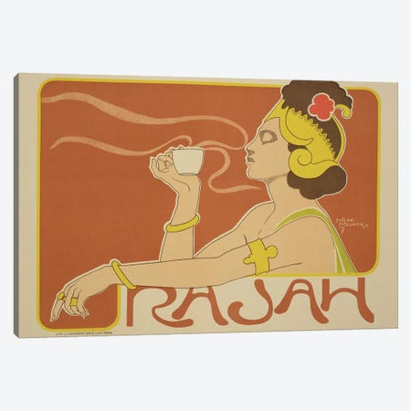Cafe Rajah Advertisement, 1897  Canvas Print #BMN1802} by Henri Meunier Canvas Art