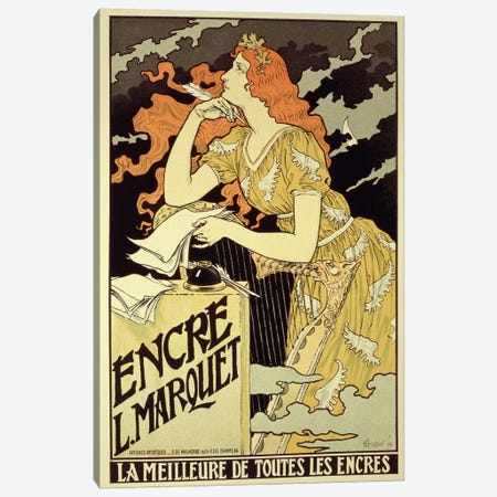 Reproduction of a poster advertising 'Marquet Ink', 1892  Canvas Print #BMN1803} by Eugene Grasset Canvas Art