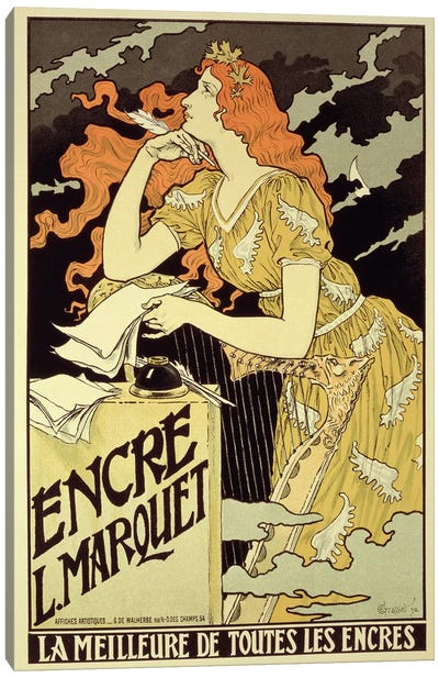 Reproduction of a poster advertising 'Marquet Ink', 1892 Canvas Art Print