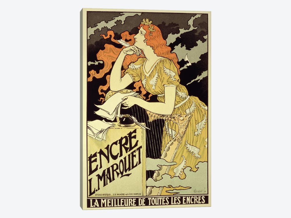 Reproduction of a poster advertising 'Marquet Ink', 1892 by Eugene Grasset 1-piece Canvas Art Print