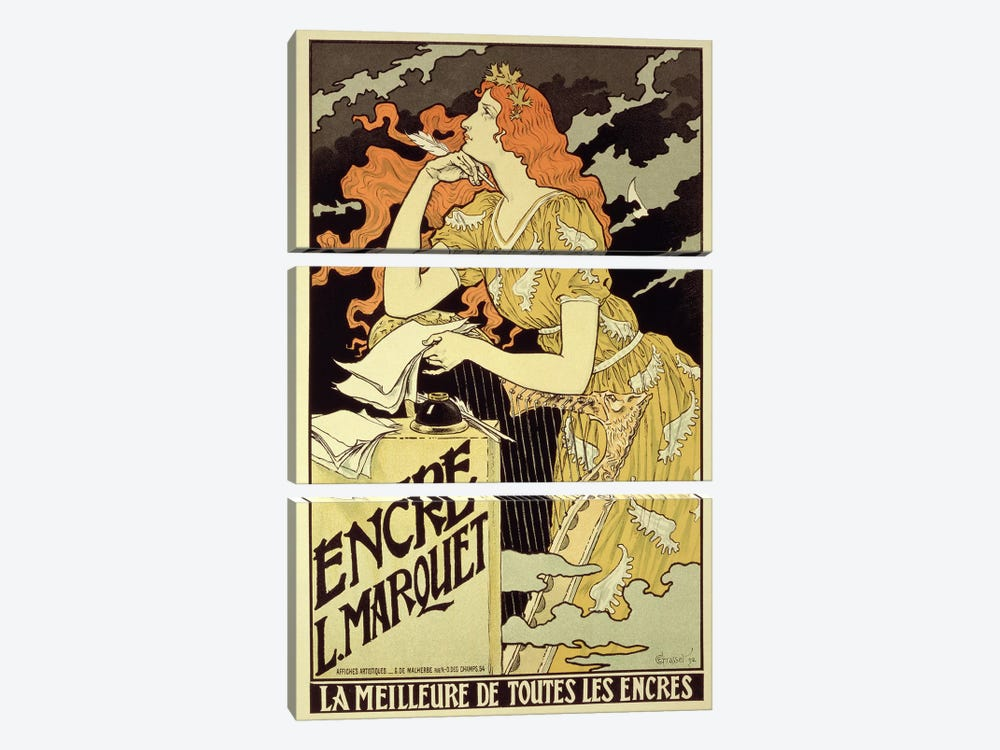 Reproduction of a poster advertising 'Marquet Ink', 1892 by Eugene Grasset 3-piece Canvas Print