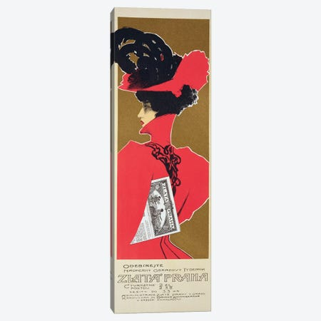 Reproduction of a poster advertising 'Zlata Praha', a weekly illustrated newspaper, Prague  Canvas Print #BMN1804} by Czech School Canvas Print