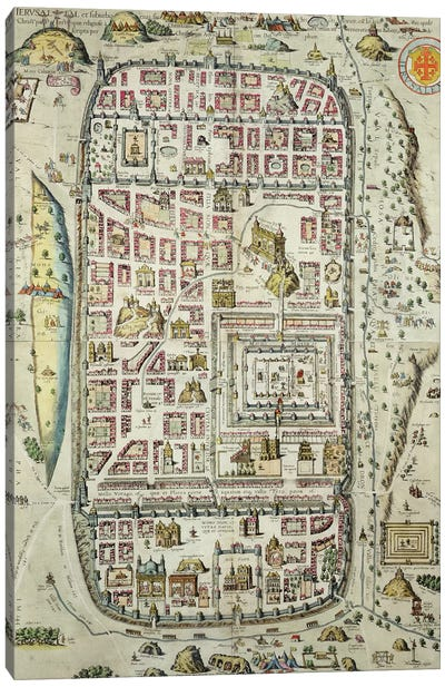 Map of Jerusalem and the surrounding area, from 'Civitates Orbis Terrarum' Canvas Art Print