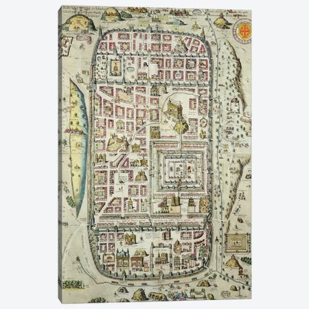 Map of Jerusalem and the surrounding area, from 'Civitates Orbis Terrarum' Canvas Print #BMN1807} by Joris Hoefnagel Canvas Art Print