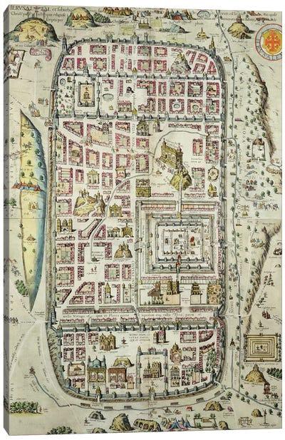 Map of Jerusalem and the surrounding area, from 'Civitates Orbis Terrarum' Canvas Art Print