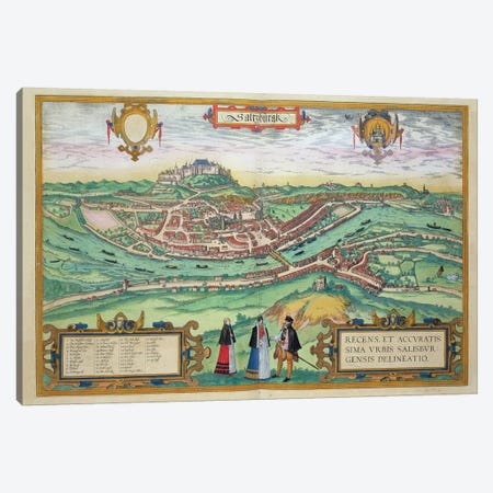 Map of Salzburg, from 'Civitates Orbis Terrarum' by Georg Braun  Canvas Print #BMN1808} by Joris Hoefnagel Canvas Wall Art