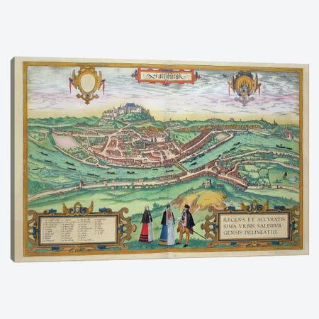 Map of Salzburg, from 'Civitates Orbis Terrarum' by Georg Braun  Canvas Print #BMN1808} by Joris Hoefnagel Canvas Wall Art