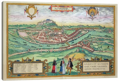 Map of Salzburg, from 'Civitates Orbis Terrarum' by Georg Braun  Canvas Art Print