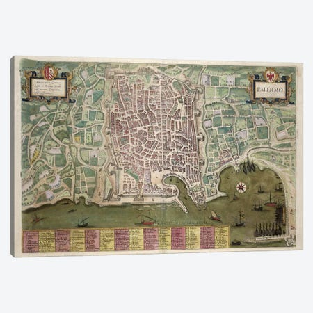 Map of Palermo, from 'Civitates Orbis Terrarum' by Georg Braun  Canvas Print #BMN1817} by Joris Hoefnagel Canvas Artwork