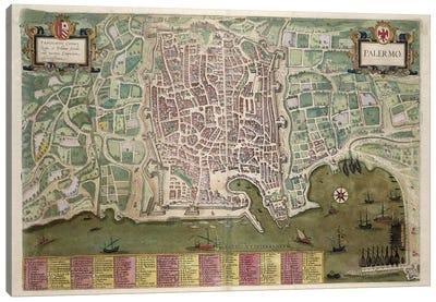 Map of Palermo, from 'Civitates Orbis Terrarum' by Georg Braun  Canvas Art Print