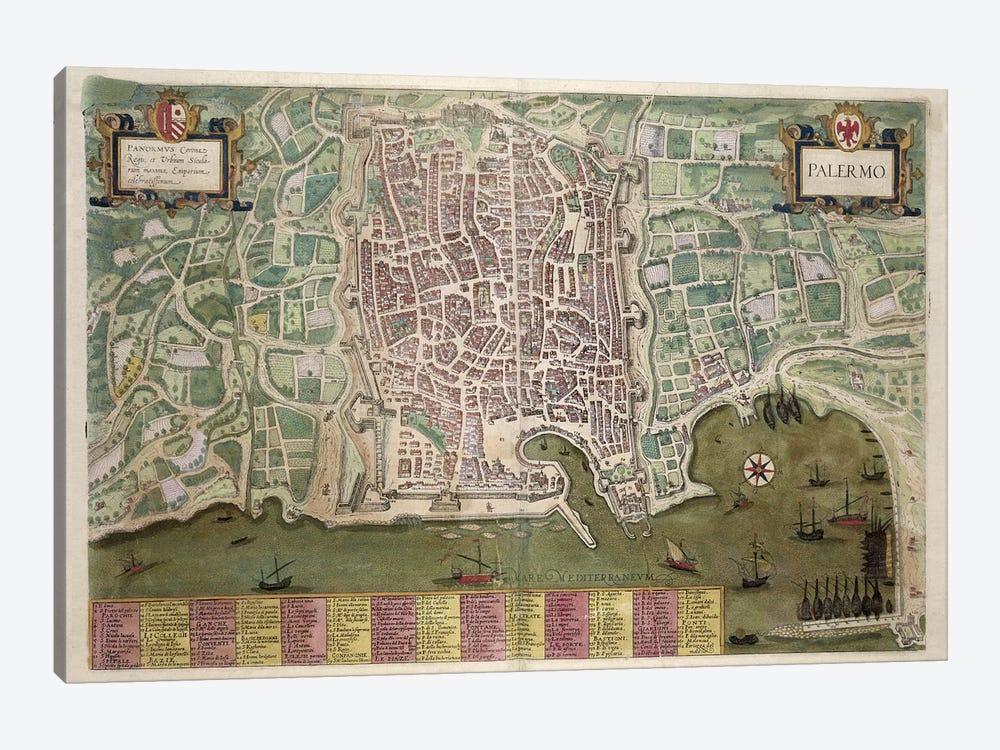 Map of Palermo, from 'Civitates Orbis Terrarum' by Georg Braun  by Joris Hoefnagel 1-piece Canvas Artwork