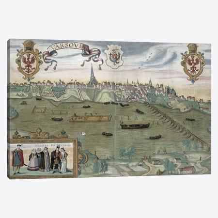 Map of Warsaw, from 'Civitates Orbis Terrarum' by Georg Braun  Canvas Print #BMN1820} by Joris Hoefnagel Canvas Wall Art