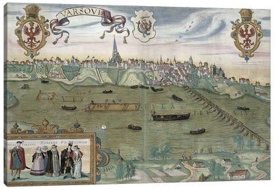 Map of Warsaw, from 'Civitates Orbis Terrarum' by Georg Braun  Canvas Art Print