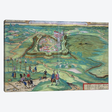 Map of Papa, from 'Civitates Orbis Terrarum' by Georg Braun  Canvas Print #BMN1821} by Joris Hoefnagel Canvas Wall Art
