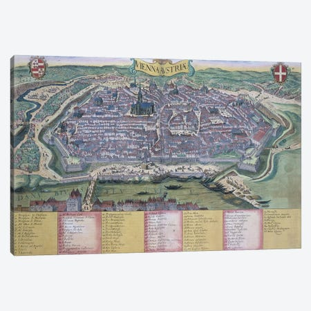 Map of Vienna, from 'Civitates Orbis Terrarum' by Georg Braun  Canvas Print #BMN1822} by Joris Hoefnagel Canvas Wall Art