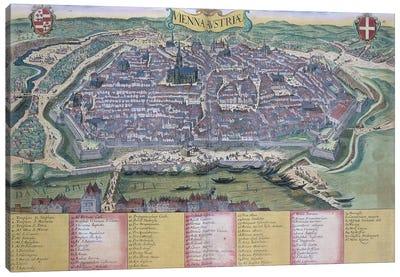 Map of Vienna, from 'Civitates Orbis Terrarum' by Georg Braun  Canvas Art Print