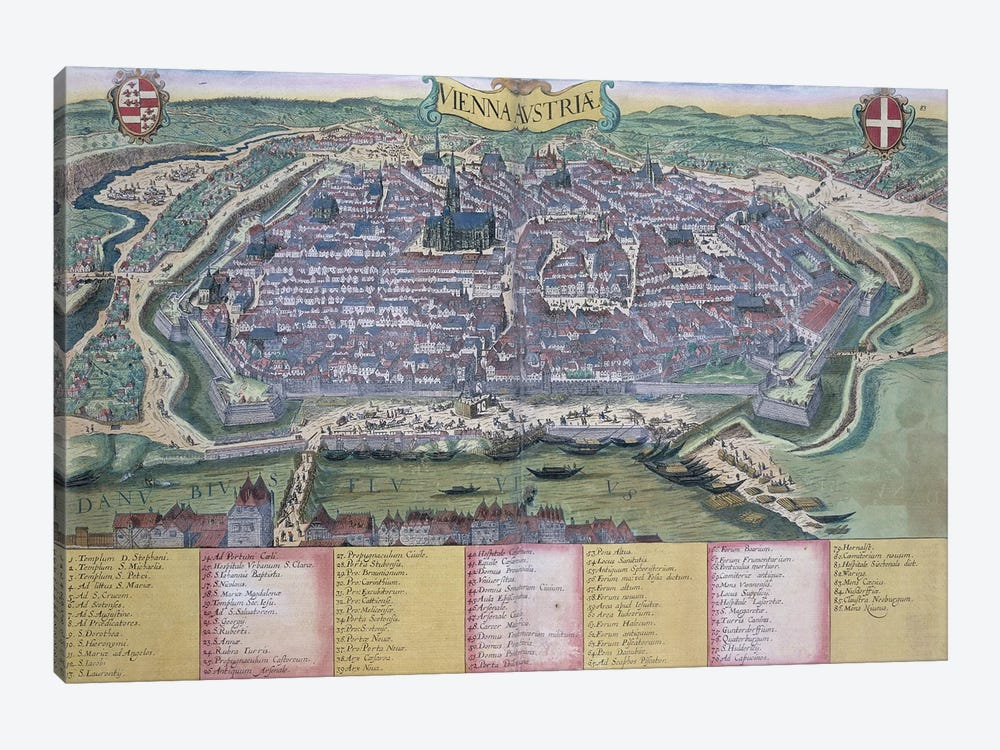 Map of Vienna, from 'Civitates Orbis Terrarum' by Georg Braun  by Joris Hoefnagel 1-piece Canvas Wall Art