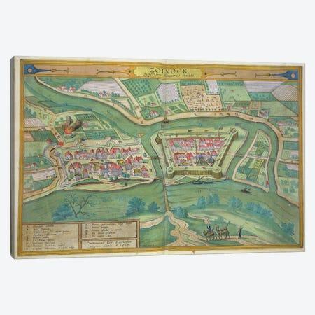 Map of Szolnok, from 'Civitates Orbis Terrarum' by Georg Braun  Canvas Print #BMN1824} by Joris Hoefnagel Art Print