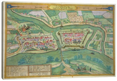 Map of Szolnok, from 'Civitates Orbis Terrarum' by Georg Braun  Canvas Art Print