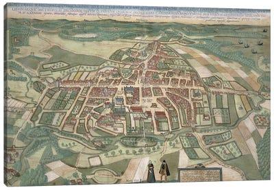 Map of Odense, from 'Civitates Orbis Terrarum' by Georg Braun  Canvas Art Print