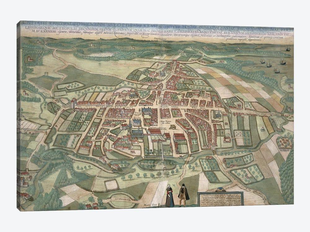 Map of Odense, from 'Civitates Orbis Terrarum' by Georg Braun  by Joris Hoefnagel 1-piece Canvas Art