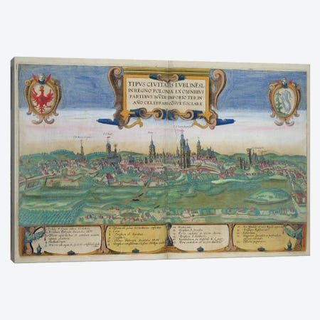Map of Lublin, from 'Civitates Orbis Terrarum' by Georg Braun  Canvas Print #BMN1836} by Joris Hoefnagel Canvas Art