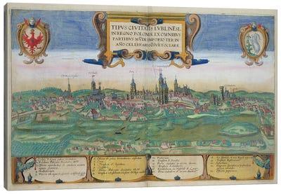 Map of Lublin, from 'Civitates Orbis Terrarum' by Georg Braun  Canvas Art Print