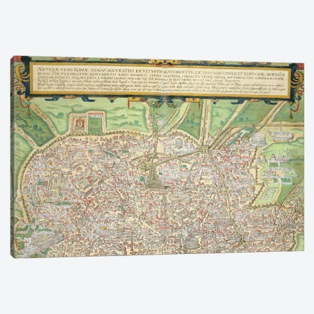 Map of Rome, from 'Civitates Orbis Terrarum' by Georg Braun  Canvas Print #BMN1838} by Joris Hoefnagel Canvas Print
