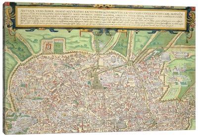 Map of Rome, from 'Civitates Orbis Terrarum' by Georg Braun  Canvas Art Print