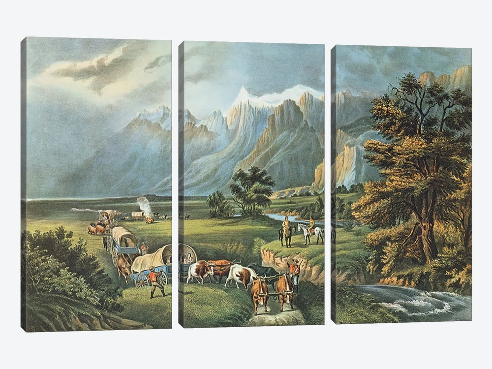 The Rocky Mountains: Emigrants Crossing the Plains, 1866 by N. Currier 3-piece Canvas Print
