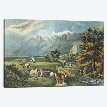 The Rocky Mountains: Emigrants Crossing the Plains, 1866  Canvas Print #BMN183} by N. Currier Canvas Art Print