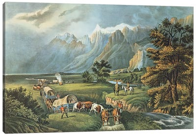 The Rocky Mountains: Emigrants Crossing the Plains, 1866  Canvas Art Print