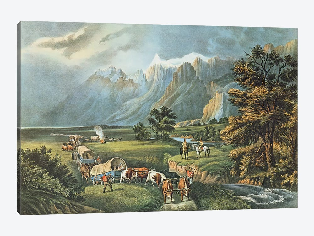 The Rocky Mountains: Emigrants Crossing the Plains, 1866  by N. Currier 1-piece Canvas Print
