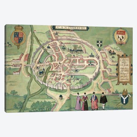 Map of Canterbury, from 'Civitates Orbis Terrarum' by Georg Braun  Canvas Print #BMN1852} by Joris Hoefnagel Canvas Print