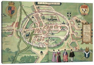 Map of Canterbury, from 'Civitates Orbis Terrarum' by Georg Braun  Canvas Art Print